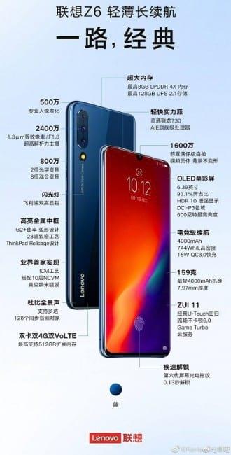 Todas as especificações do Lenovo Z6 vazam dois dias antes de seu lançamento.