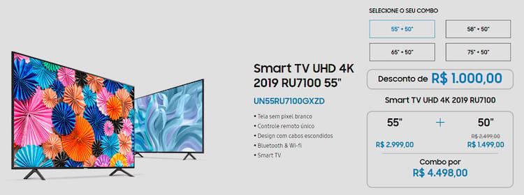 Combos indicam os preços da TV 4K escolhida e o desconto concedido.