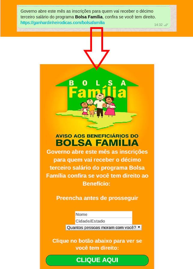 Cuidado com links que você não conhece ou são encurtados. Repare que o link acima no final da mensagem não parece ser um link do governo. (.gov.br)