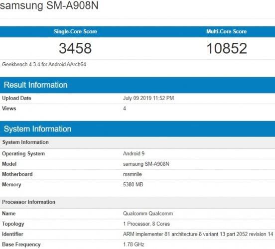 Avaliação no Geekbench mostra que A90 contará com Snapdragon 855, 6GB de memória RAM e Android Pie.