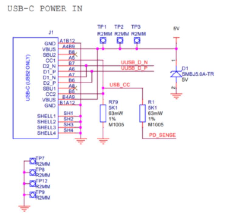 Esquema de alimentação do USB-C no Raspberry Pi 4