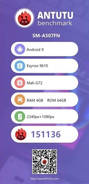 Resultado e algumas características do Galaxy A50s no AnTuTu.