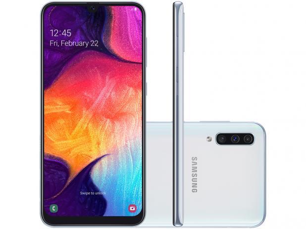 Galaxy A50 também conta com processador Exynos 9610, sistema operacional Android Pie e configuração de 4GB RAM e 64GB.