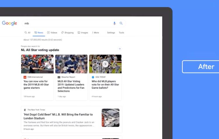 Como ficará o visual da aba de notícias da Google em breve.