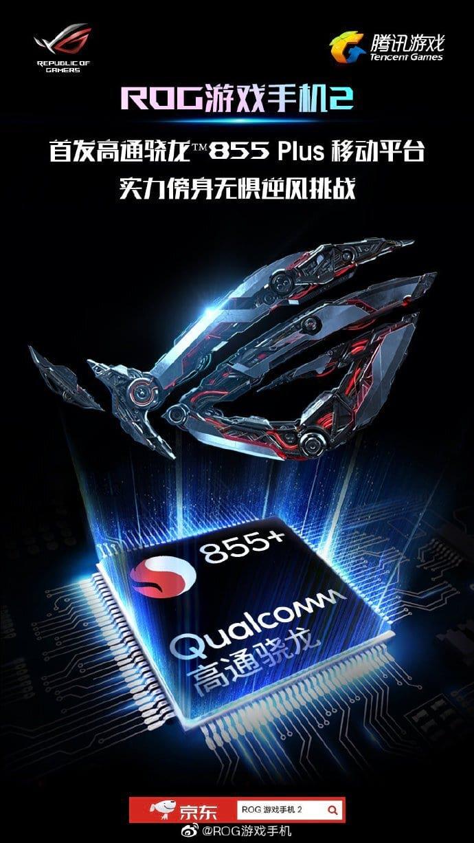 Banner da Asus mostra a referência do novo processador em seu próximo lançamento, o ROGPhone 2