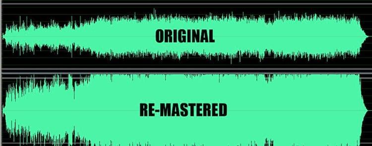 Comparação da reprodução de música com DR alta (acima) e música com DR baixa (abaixo)