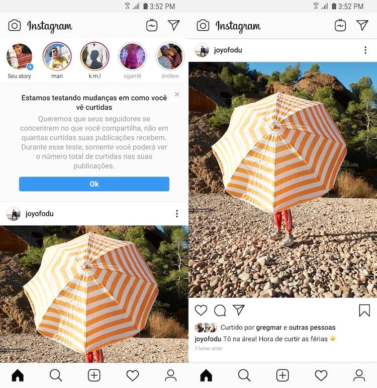 Agora, usuários não terão acesso ao número de likes que certa postagem recebeu. Apenas o dono da foto ou vídeo vai poder ver, em números, suas curtidas.