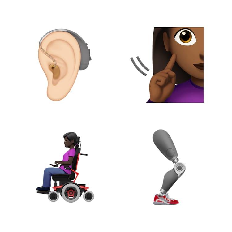 Alguns dos desenhos representando pessoas com deficiências que serão adicionados aos emojis.