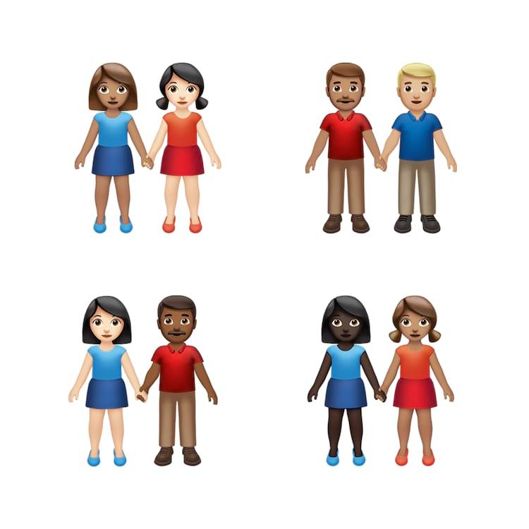 Agora será possível editar a cor e gênero de cada uma das pessoas no emoji em que estão de mãos dadas.