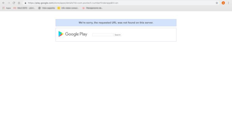 Segundo apurado pelo Oficina da Net, o aplicativo Number Finder não está mais disponível na Play Store.