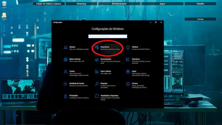 Através do item Dispositivos você terá acesso às configurações do teclado.