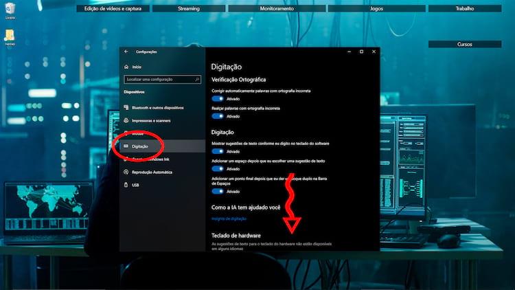 O item Digitação mostra à direita opções relacionadas ao teclado.