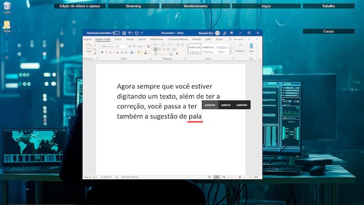 As sugestões de palavras passam aparecer em todo o sistema, seja para nomear arquivos, escrever textos, fazer buscas e todo o resto.