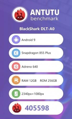 BlackShark 2 Pro pontuou 405.598 no teste do Antutu.