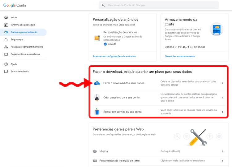 A partir desta opção, escolheremos como vamos receber nosso backup do Google Drive