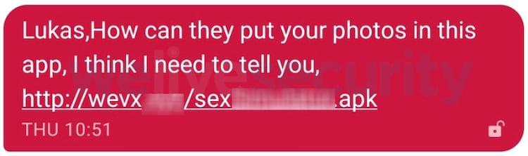 Mensagem enviada aos contatos da vítima com link malicioso.
