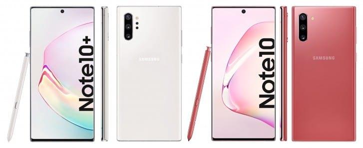 Galaxy Note10+ aparece em branco e Note10 em rosa.