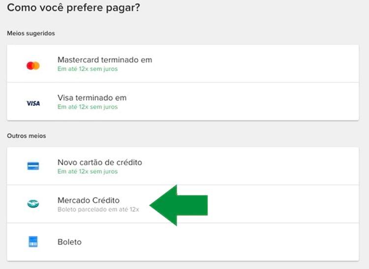 Mercado Crédito - Quando disponível aparece como outras formas de pagamento no ato da compra