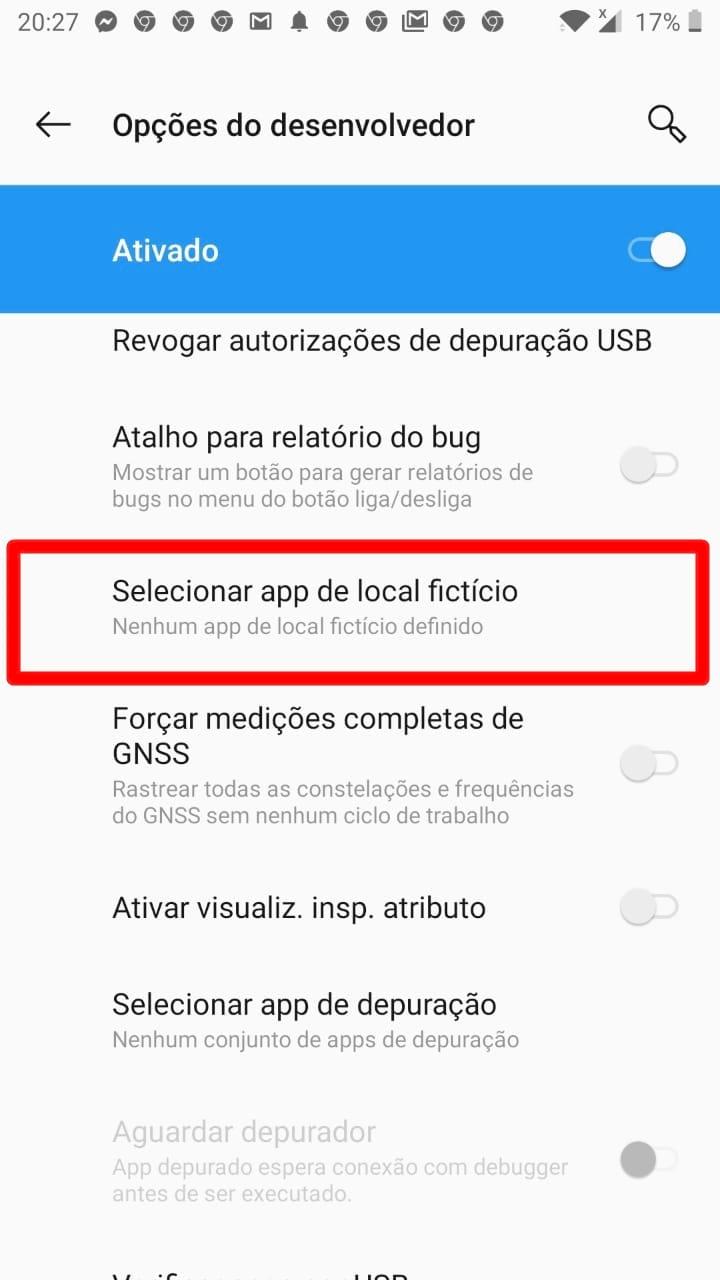 selecionar App de local fictício