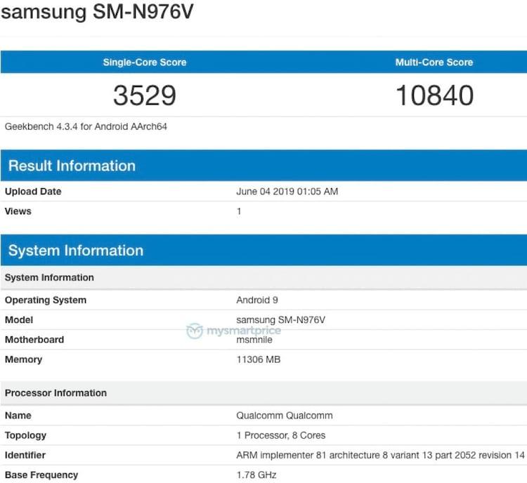 Galaxy Note10+ pontua 3529 no single-core e 10840 no multi-core em sua versão com processador Snapdragon.