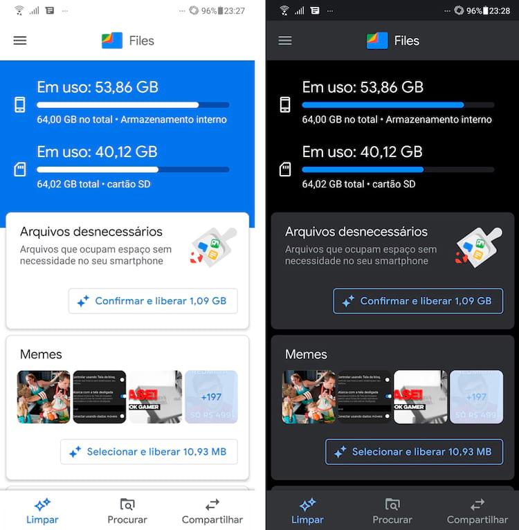 Files do Google agora com tema escuro, nossos olhos agradecem e a bateria do nosso dispositivo android também!