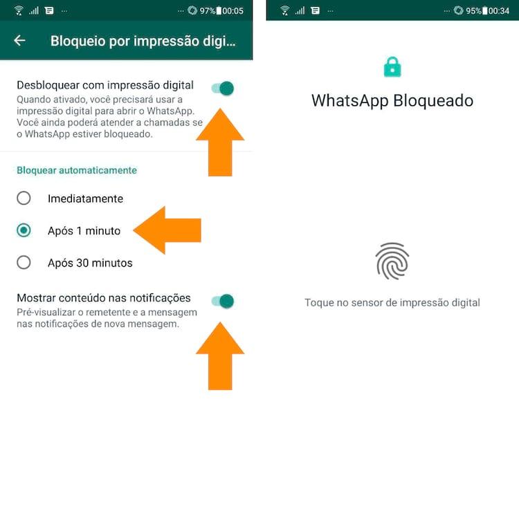 Com a digital reconhecida, você escolhe agora quando o bloqueio passa a valer e também decide mostrar ou ocultar as notificações do aplicativo