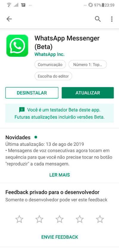 Atualize seu Whatsapp para ter acesso ao bloqueio por digital