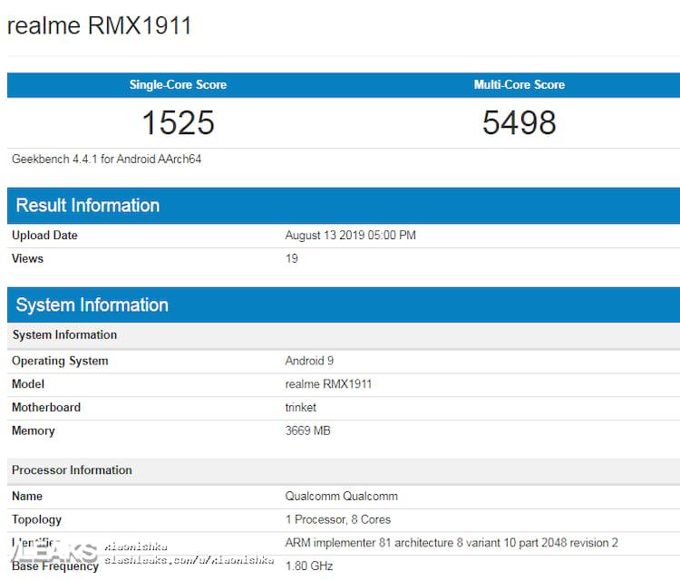 Realme 5 é flagrado no Geekbench com Snapdragon 660.