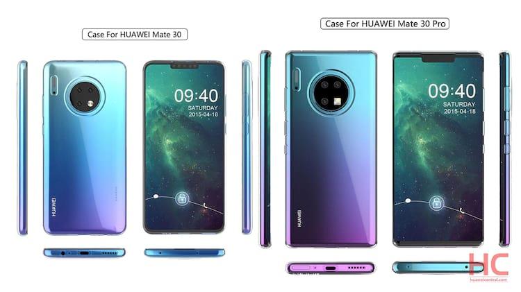 Huawei Mate 30 e Mate 30 Pro - Cases de proteção mostram design do smartphone, que traz amplo notch frontal possivelmente com sensor ToF junto a câmera de selfie, além de câmera tripla traseira