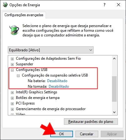 Configurações de Energia USB