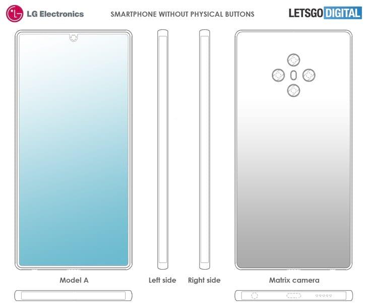 Patente mostra, aliás, não mostra botões físicos no smartphone da LG