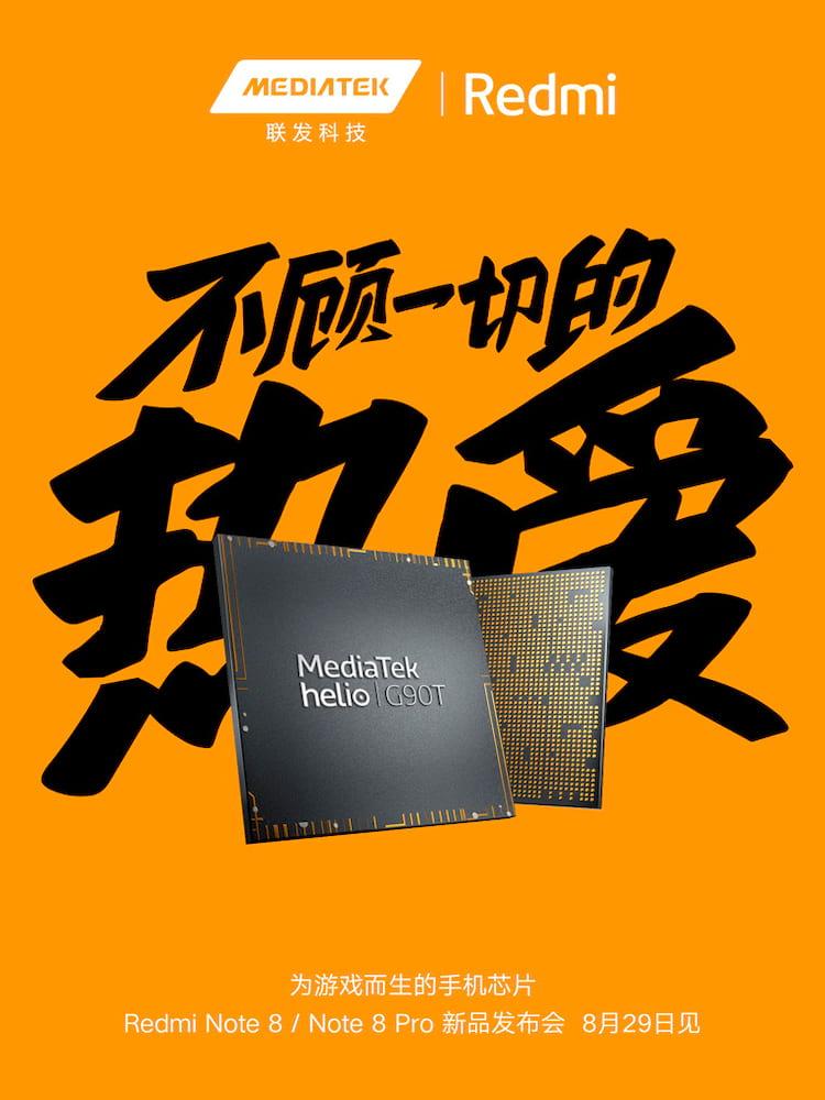 Redmi Note 8 e Redmi Note 8 Pro chegam dia 29 de agosto com processador MediaTek Helio G90T