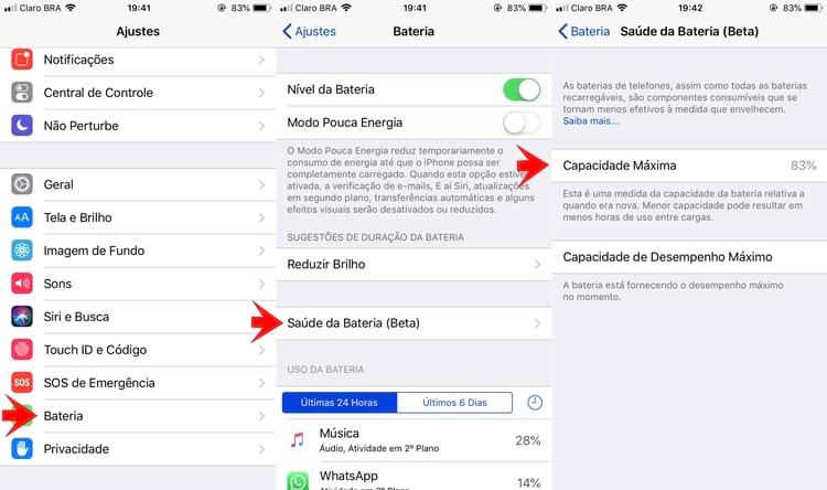 saúde da bateria do iphone