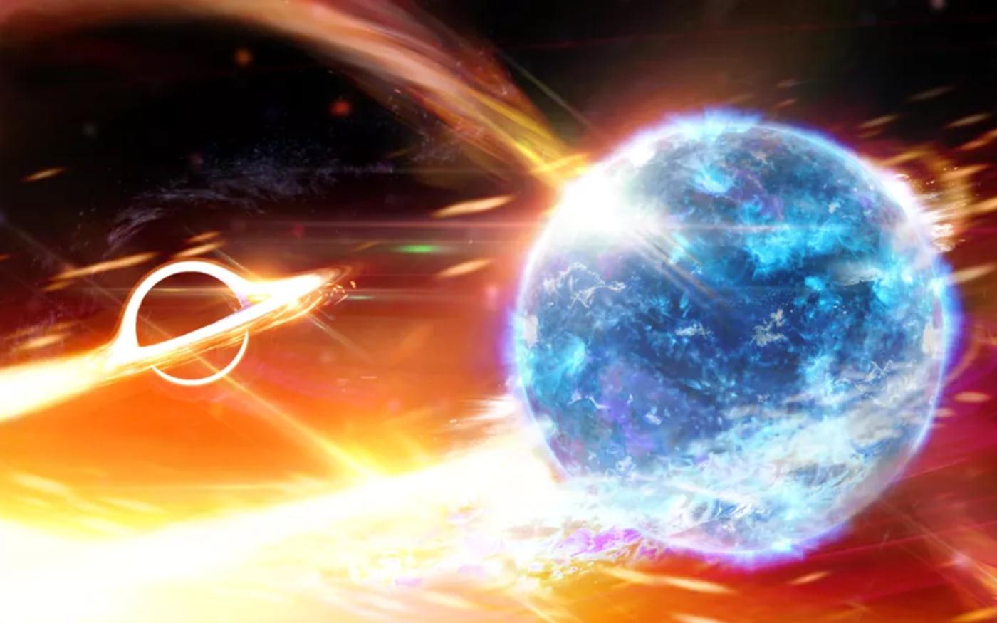 Buraco Negro engoliu uma estrela de nêutrons e causou ondulações no espaço-tempo