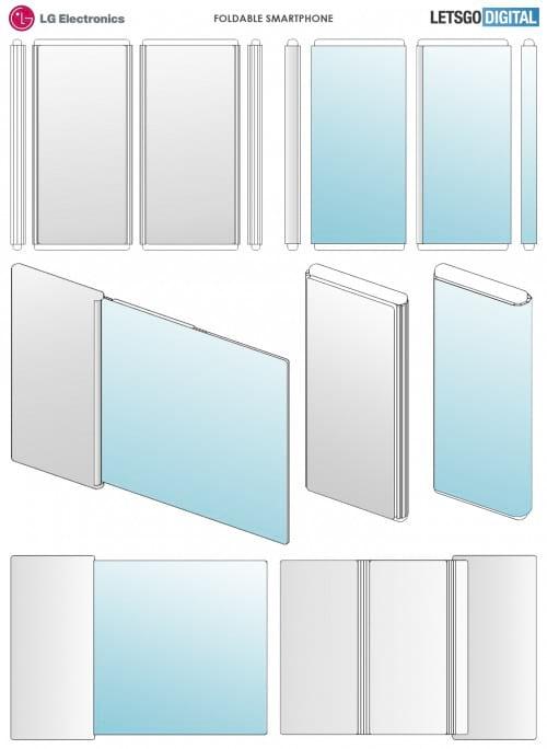 Imagens da Patente de tela dobrável e enrolável da LG (fonte: LetsGoDigital)