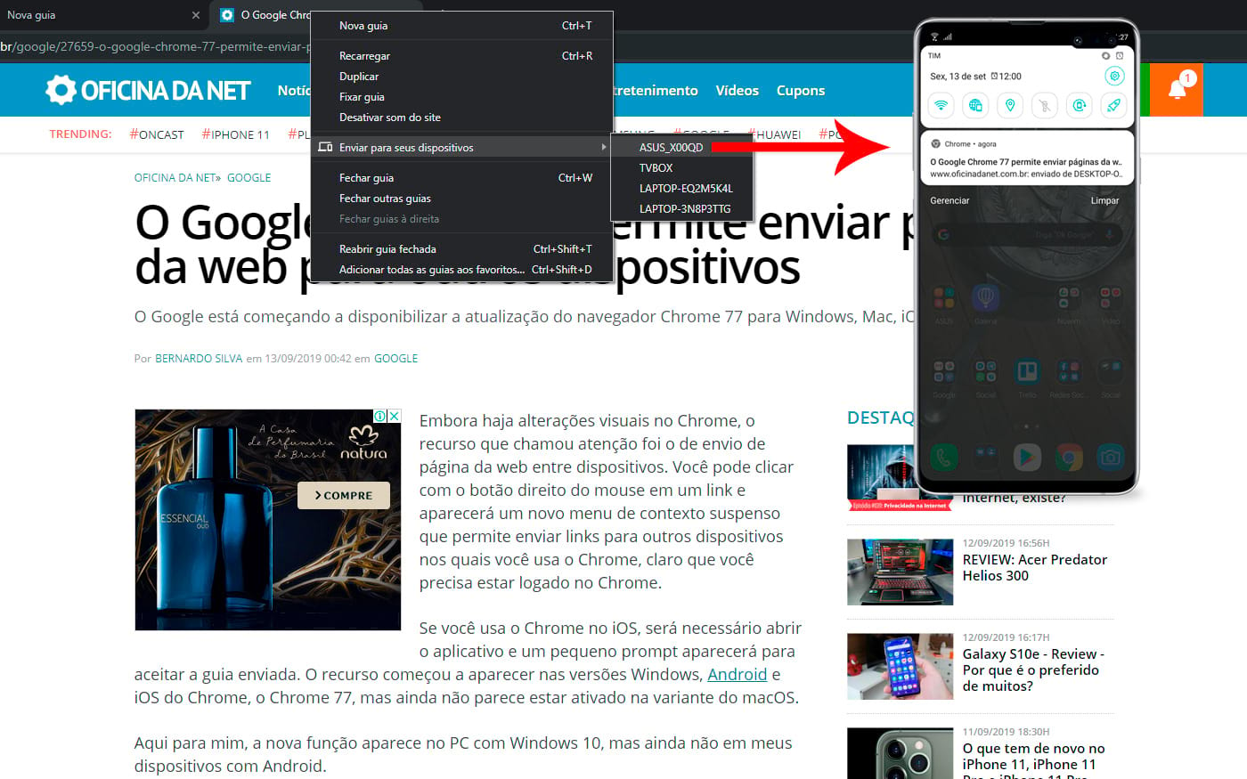 Chrome 77 - Atualização traz opção de enviar páginas e links entre dispositivos conectados ao seu usuário do google
