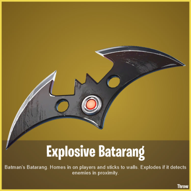 Batarang explosivo. Fonte: Twitter @FNBRLeaks