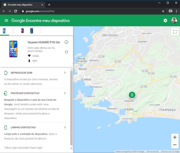 Todo e qualquer dispositivo que você tenha vinculado a sua conta do Google fica disponível para a localização. O mapa pode ser ampliado e ter o exato local onde o dispositivo está.