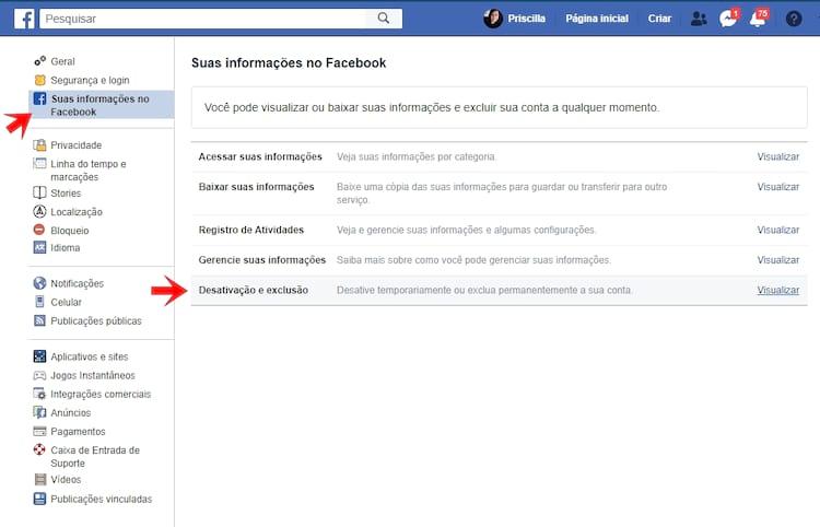 Suas Informações no Facebook > Desativação e Exclusão