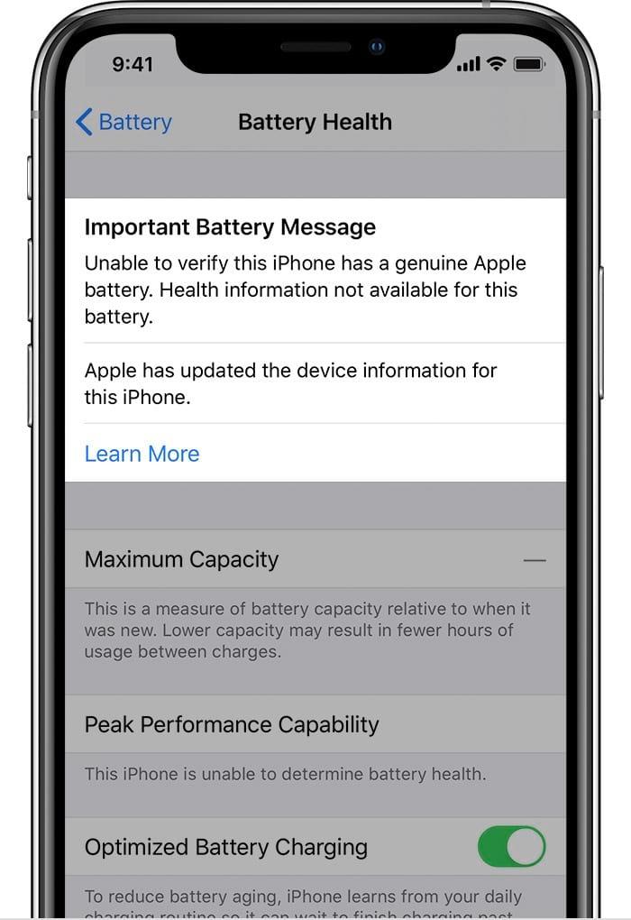 Mensagem sobre bateria não original (fonte:macrumors)