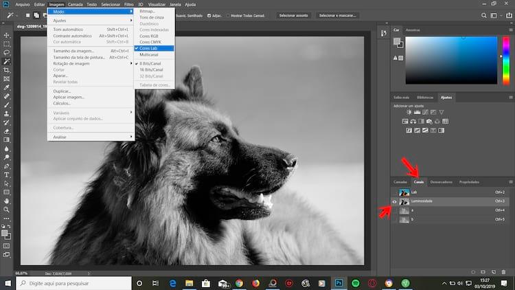 Imagem > Modo > Cores Lab