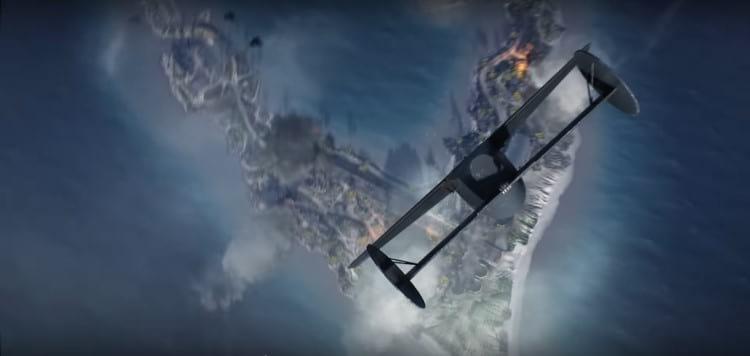 Cena no trailer de BF5 da bomba atômica caindo . Fonte: Battlefield (YouTube)