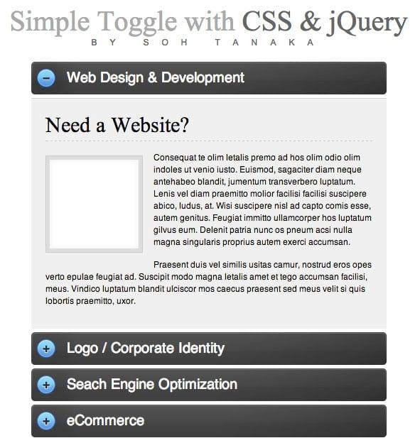 Efeito Toggle com CSS e JQuery