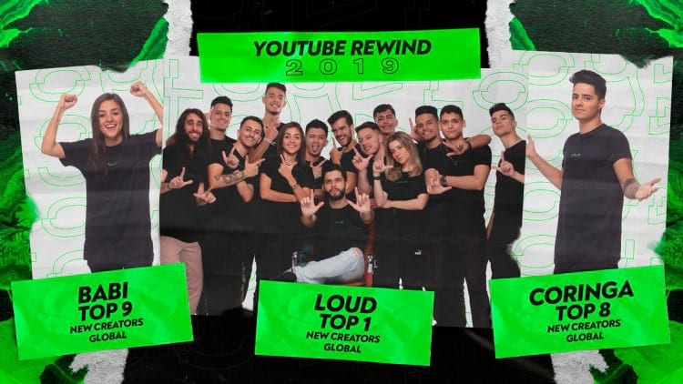 Integrantes da LOUD que ficaram no top 10 de novos criadores no Brasil do YouTube Rewind 2019. Fonte: LOUDgg (Twitter)