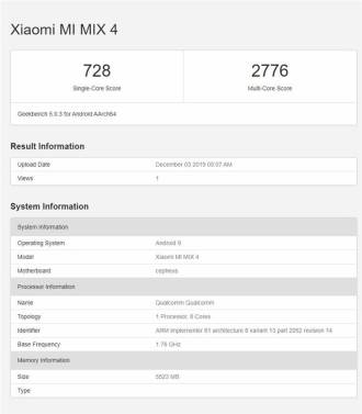 Mi Mix 4 - Geekbench