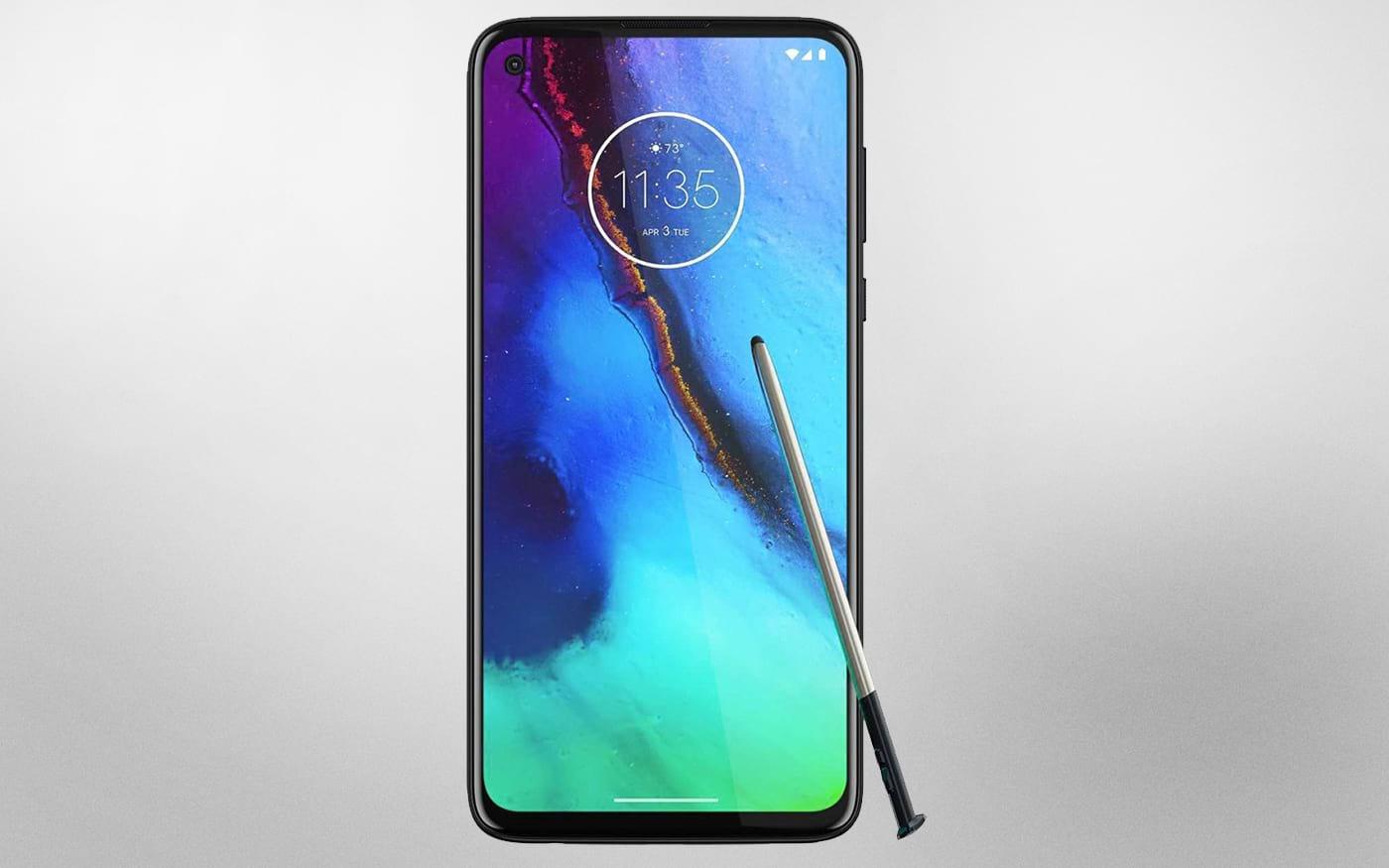 Renderização mostra smartphone da Motorola com caneta stylus