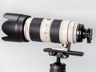 Raspberry Pi High Quality Camera com lente Canon 70-200mm f/2,8. Fonte: The Verge