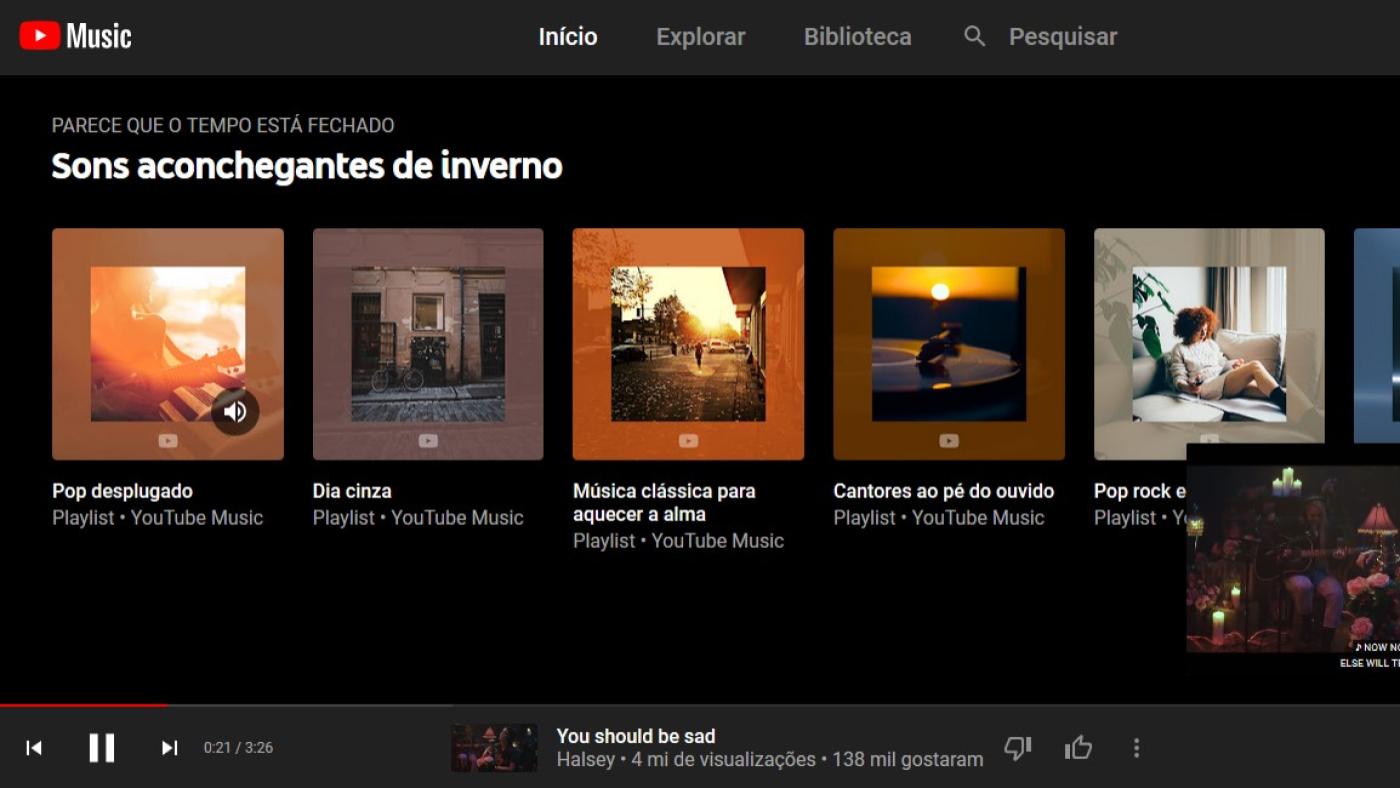 Tela do YouTube Music no navegador.