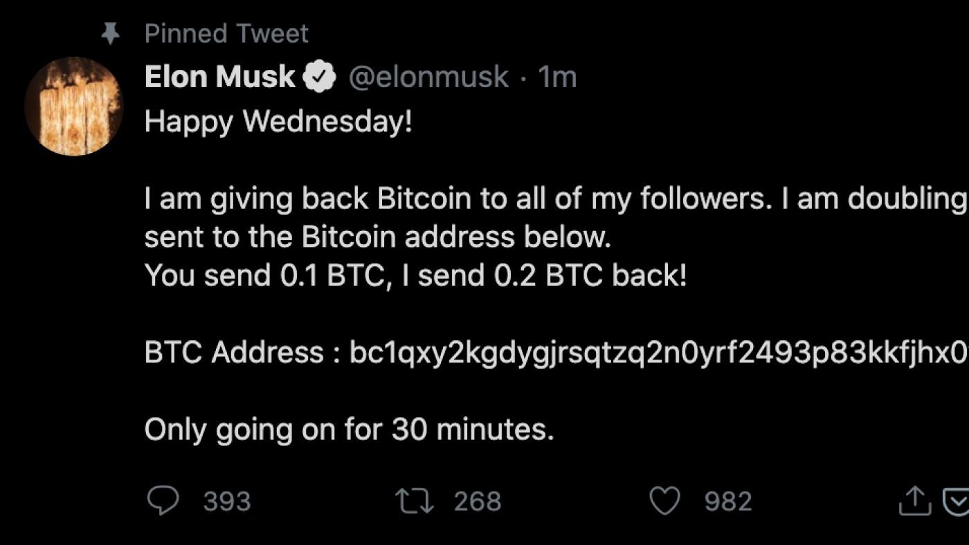 Conta de Elon Musk hackeada. Fonte: Twitter