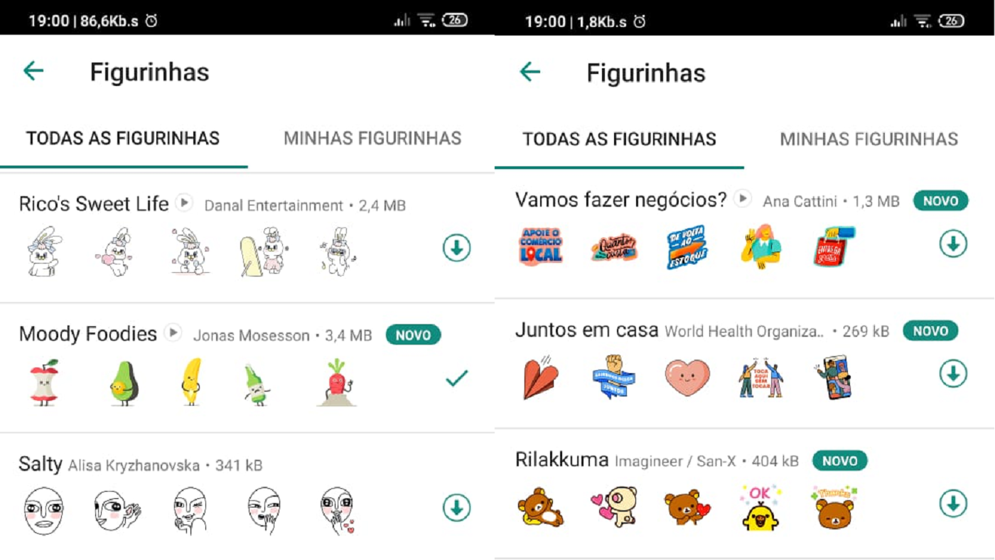 Print de figurinhas para download no WhatsApp